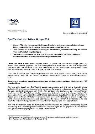 Opel/Vauxhall wird Teil der Groupe PSA