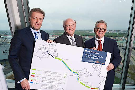vlnr.: ASFINAG Vorstand Klaus Schierhackl; Erwin Pröll, Landeshauptmann NÖ; Hans Niessl, Landeshuaptmann Bgld.