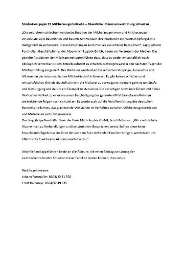 Strafaktion gegen 37 Milcherzeugerbetriebe – Bäuerliche Interessensvertretung schaut zu