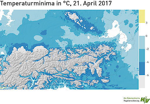 Temperaturminima in °C, 21.4.2017