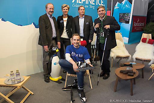 Franz Schafflinger Gasteiner Bergbahnen, Renate Bauer ALPINE ICE, Maximilian Hammerl (sitzend mit Nordic Ice Skates) ALPINE ICE, Manfred Mair AST Eis- und Solartechnik, Martin Schobert ALPINE ICE (von links nach rechts)