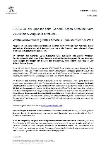 PEUGEOT als Sponsor beim Generali Open Kitzbühel vom 29.Juli bis 5. August