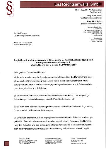 """Postverteilerzentrum/Logistikzentrum Langenzersdorf """"Pseudo-SUP-Unterlagen"""" belegen SUP-Pflicht"""