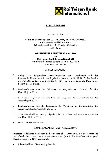 EANS-Hauptversammlung: Raiffeisen Bank International AG ...