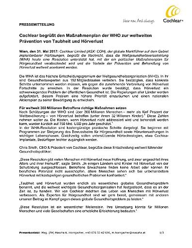 WHO-Resolution zu weltweiter Prävention von Taubheit und Hörverlust