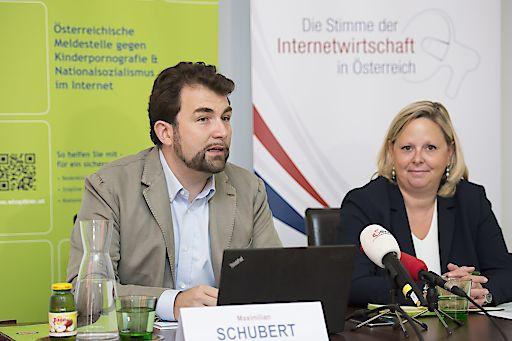 https://www.apa-fotoservice.at/galerie/9632 Bild zeigt: Dr. Maximilian Schubert, Generalsekretär der ISPA und Dr. Barbara Schlossbauer, Projektleiterin Stopline