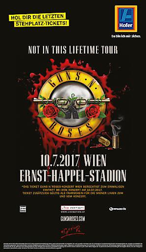 Bei Hofer gibt es die letzten Restkarten für das Guns N' Roses Konzert am 10. Juli in Wien.