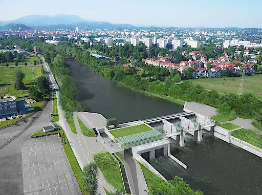 Bild zu OTS - Murkraftwerk Graz/Puntigam