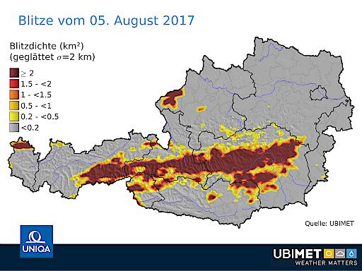 Blitze in Österreich am 5.8.2017