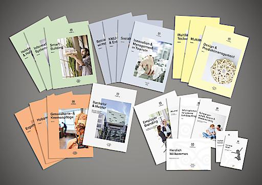 Beispiel Drucksorten: Im Zuge des Neuauftritts wurden alle Kommunikations- und Marketingmittel überarbeitet.