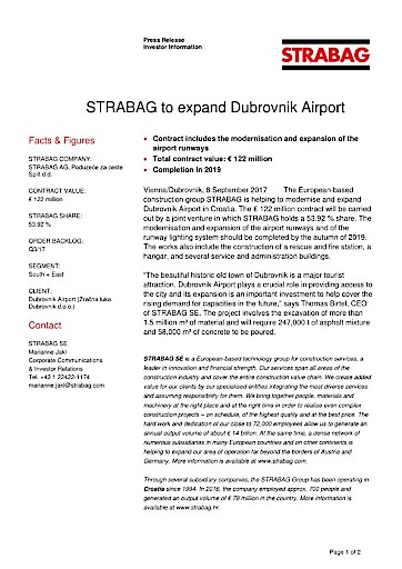 EANS-News: Strabag to expand Dubrovnik Airport