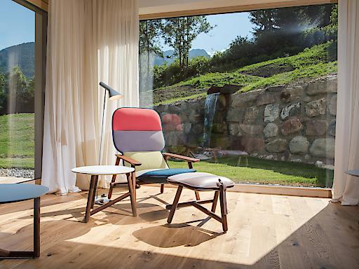 """""""lieblingsplatz.prinzip"""" heißt, beim Daberer wurden detailverliebt gestaltete, individuelle Plätze für die Gäste geschaffen. Im Bild: einer der Lieblingsplätze im neuen """"natur.spa"""" (Wellness- & Behandlungsbereich) des 4-Sterne Superior Hotels (Dab-8100)"""