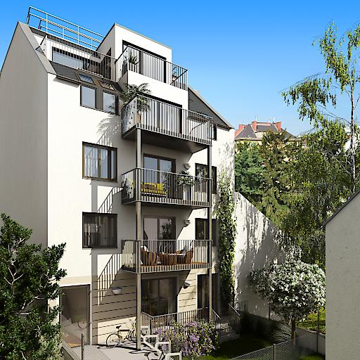 Schaubild des neuen Wohnhauses. Hier entstehen 6 moderne Wohnungen, die provisionsfrei als Eigentums- oder Vorsorgewohnung erworben werden können.