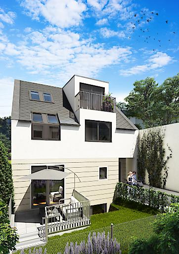 Schaubild einer Doppelhaushälfte mit Garten. Insgesamt werden 4 Doppelhaushälften errichtet.