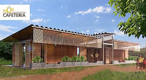 """Das Schaubild der """"Mud Cafeteria"""". Nach Fertigstellung soll das Gebäude dem Modell gleichen."""