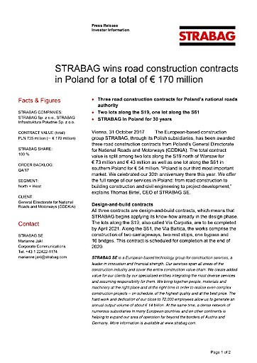 EANS-News: Strabag wins road construction contracts in Poland for a total of € 170 million