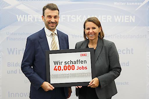 Industrie-Spartenobmann Stefan Ehrlich-Adám und Studienautorin Edith Jaksch bei der Präsentation der Bildungsbedarfsanalyse.
