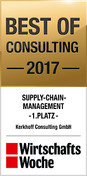 Bild zu WirtschaftsWoche Award Best of Consulting 2017 / 1. Platz für Kerkhoff Consulting in der Kategorie Supply Chain Management