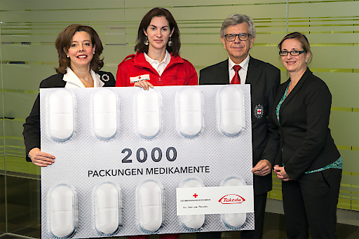 Takeda stellt der Medikamentenhilfe des Österreichischen Roten Kreuz (ÖRK) zum wiederholten Male Produkte gegen Erkältungen, Schmerzmittel und Magenschutz-Präparate in verschiedenen Darreichungsformen zur Verfügung.