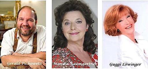 Im Bild v.l.n.r.: Gerald Pichowetz, Monika Baumgartner, Guggi Löwinger (c) OperettenSommer Kufstein