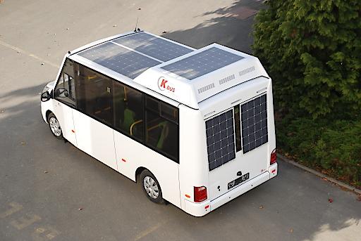 Niederflur Elektrobus mit Solarpanels, www.k-bus.at