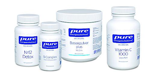 Produkte von Pure Encapsulations: Nrf2 Detox, B-Complex, Basenpulver plus und Vitamin C gepuffert