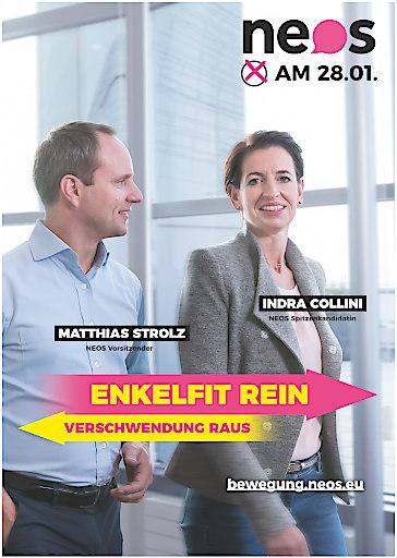 "NEOS Wahlplakat ""Enkelfit rein - Verschwendung raus"""