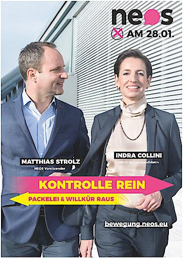 """NEOS Wahlplakat """"Kontrolle rein - Packelei und Willkür raus"""""""