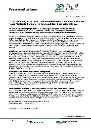 Daten sammeln, analysieren und neue Geschäftsmodelle entwickeln – Neuer Masterstudiengang* in Kufstein bildet Data Scientists aus