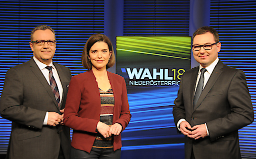 v.l.: ORF NÖ-Moderatorenteam Werner Fetz, Claudia Schubert, Chefredakteur Robert Ziegler