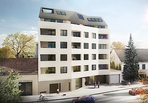 Visualisierung: Donaufelderstraße 255/Doningasse 8, 1220 Wien, Straßenansicht Quelle: Breiteneder Immobilien GmbH