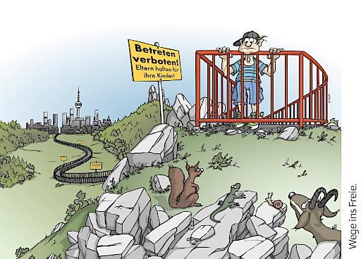 """""""Wege ins Freie?"""" Mit einer humorvollen Bilderserie möchte der Alpenverein zum Nachdenken anregen."""