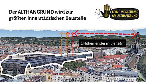 Skizzierung der 2 Höhenfenster mit je 126m am Plangebiet Althangrund