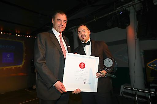 v.l.n.r. Eugen Otto (Eigentümer Otto Immobilien) überreichte Lukas Sattlegger (Marketing Glorit) den Preis feierlich