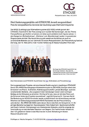 Drei Sanierungsprojekte mit ETHOUSE Award ausgezeichnet