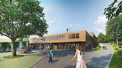 Visualisierung: Der neue International Campus Vienna bietet ab Herbst 2018 architektonisch und pädagogisch optimale Rahmenbedingungen für erfolgreiches Lernen.