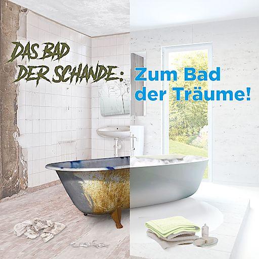 Visual - Die 1a-Installateure starten Wettbewerb zum desolatesten Bad Österreichs und verwandeln es in das Bad der Träume.