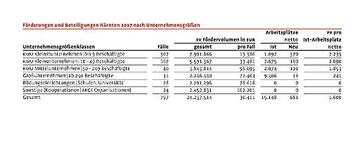 KWF Förderungen und Beteiligungen Kärnten 2017 nach Unternehmensgrößen