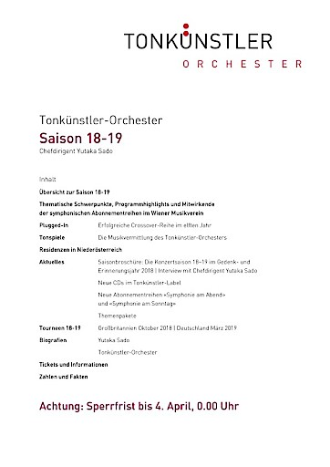 Panorama der klassischen und nachklassischen Orchestermusik: Konzertsaison 18-19 mit dem Tonkünstler-Orchester