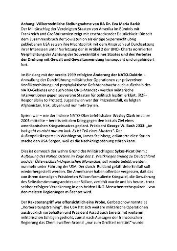 Protest gegen Reaktion der österr. Bundesregierung auf Luftschläge gegen Syrien