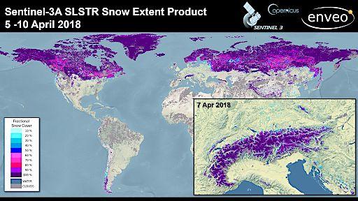 Durchschnittliche Schneebedeckung 5.-10. April 2018 global und am 7. April 2018 im Alpenraum basierend auf Copernicus Satellitendaten.