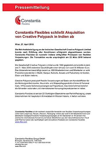 Constantia Flexibles schließt Akquisition von Creative Polypack in Indien ab