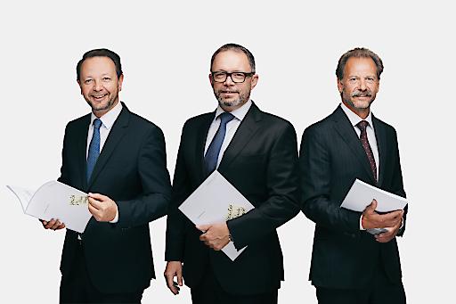 Merkur Vorstandsdirektor Christian Kladiva, Generaldirektor Gerald Kogler und Vorstandsdirektor Andreas Stettner (v.l.n.r.)