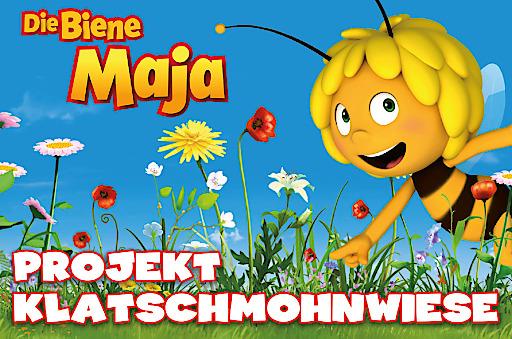 """Die Biene Maja zum Weltbienentag am 20. Mai 2018: Gemeinsam lassen wir es blühen! / DIE BIENE MAJA - Projekt Klatschmohnwiese Weiterer Text über ots und www.presseportal.de/nr/105123 / Die Verwendung dieses Bildes ist für redaktionelle Zwecke honorarfrei. Veröffentlichung bitte unter Quellenangabe: """"obs/Studio 100 Media GmbH"""""""