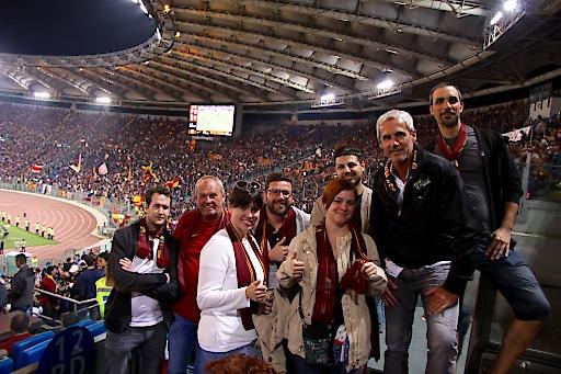 Gewinner des Mr Green Gewinnspiels mit AS Roma Legende Michael Konsel im Stadion Olympico beim Spitzenspiel AS Roma vs. Juventus Turin