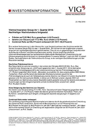 Pdf Eans News Vienna Insurance Group Im 1 Quartal 2018