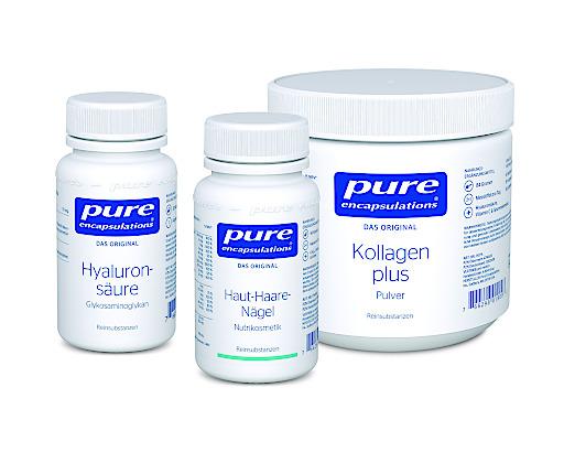 Produktabbilungen: Kollagen plus, Haut-Haare-Nägel und Hyaluronsäure von Pure Encapsulations(R)