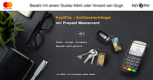 Key2Pay - Österreichs erster Schlüsselanhänger zum kontaktlosen Bezahlen mit Prepaid Mastercard