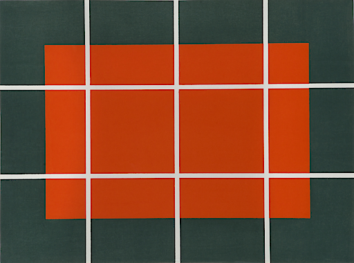 Donald Judd - Ohne Titel, 1992-93 - Holzschnitt in Orange und Grün auf Japanpapier Echizen kozo - 57,9 x 80 cm
