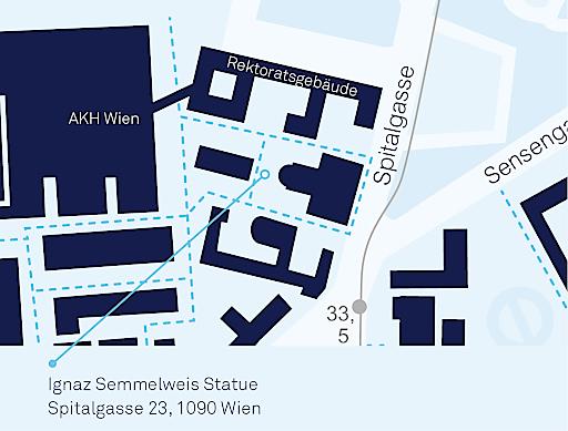 Zum 200. Geburtstag von Ignaz Semmelweis / Lageplan der Statue Medizinischen Universitätscampus AKH Wien.